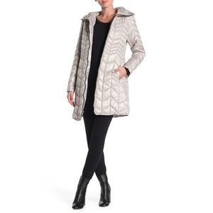 Kenneth Cole New York Hooded Packable Coat Bone S